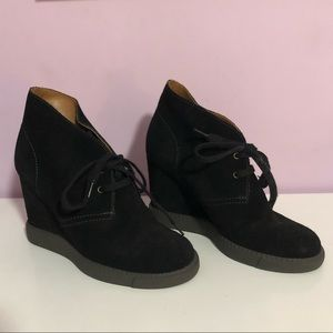 See by Chloé Black Suede Wedge Sneaker Ankle Boots